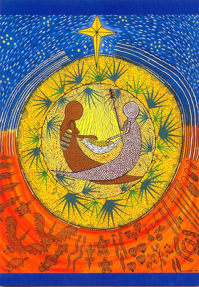 carte de voeux Noel art aborigène